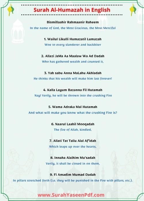 Surah Humazah  English Image