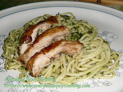 Pili Nut Pesto Spaghetti with Chicken Barbecue Recipe