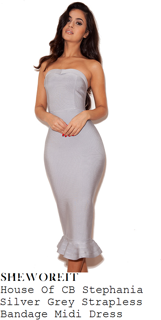 jodie-marsh-pale-silver-grey-strapless-fluted-frill-hem-bodycon-bandage-midi-dress-instagram