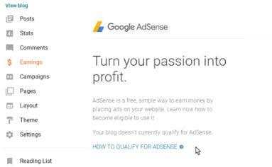 earning blogger adsense