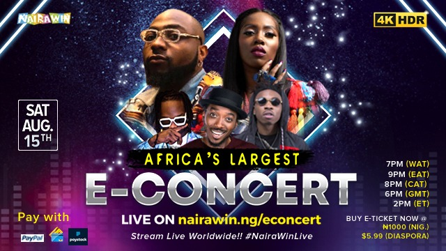 Davido, Tiwa Savage, Naira Marley and Mayorkun to perform in 4KHD at Africa's largest E-concert, NairaWin Live #Arewapublisize