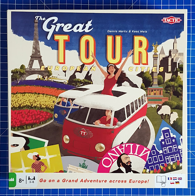 The Great Tour Family Board Game box cover with motorhomes and holidaymakers
