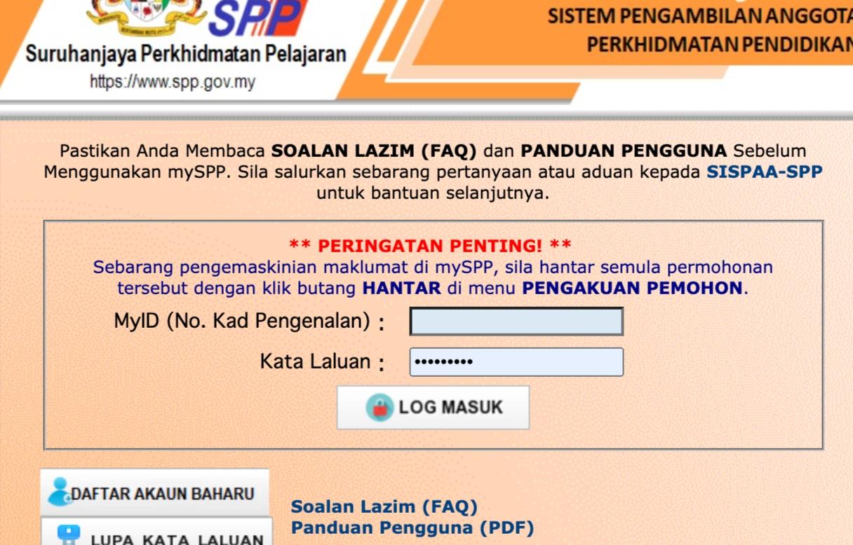 Cara Daftar mySPP 2021 Online (Semakan Status & Login)