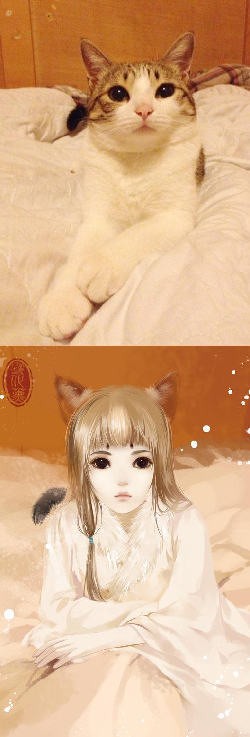 Kot narysowany jako kobieta z anime 10