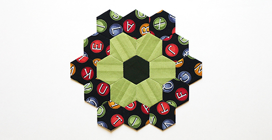 English Paper Piecing Hexagon Flower Block