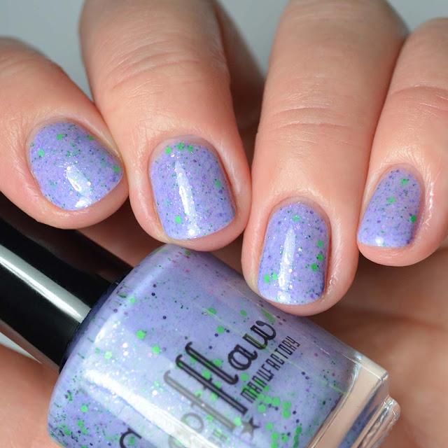 purple glitter nail polish swatch