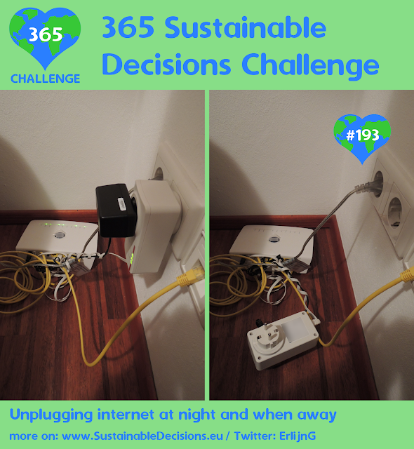 Unplugging internet at night and when away saving energy