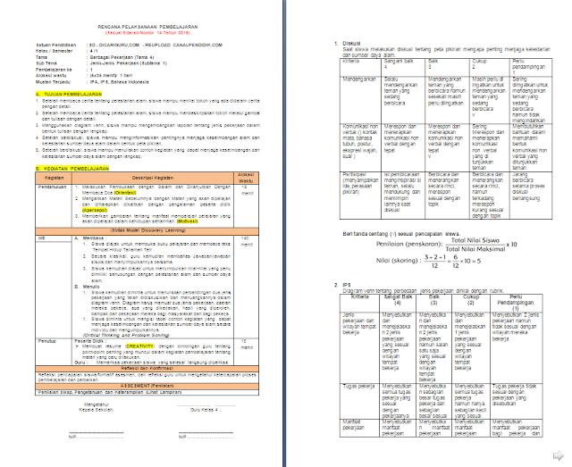 RPP 1 Lembar Kelas 4 SD/MI Tema 4: Berbagai Pekerjaan