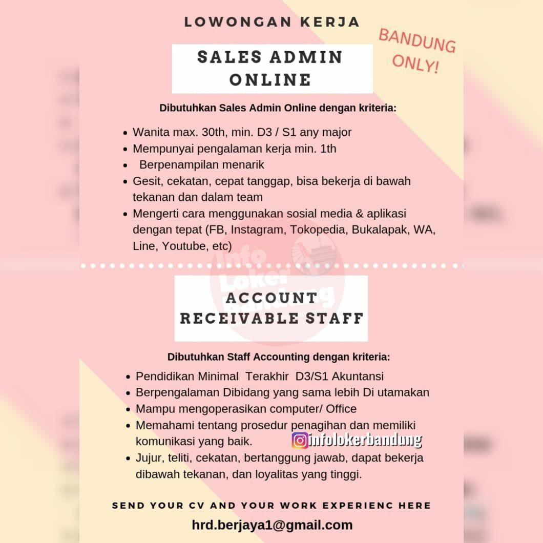 Lowongan Kerja Sales Admin Online & Account Receivable Staff Bandung April 2019
