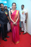 Kajal Aggarwal in Red Saree Sleeveless Black Blouse Choli at Santosham awards 2017 curtain raiser press meet 02.08.2017 015.JPG
