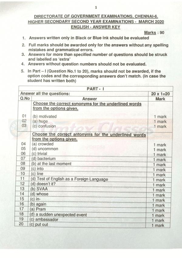 12th English  - Official Answer Keys for Public Exam 2020 - English Medium Key Download