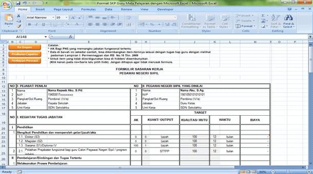 Format SKP Guru Mata Pelajaran dengan Microsoft Excel