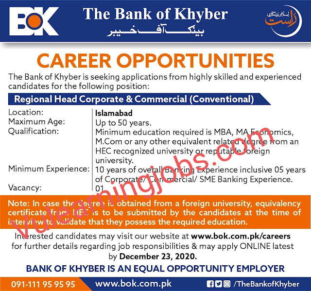 The Bank Of Khyber Jobs 2020 In Pakistan For Regional Head Corporate & Commercial Latest