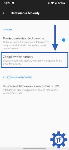 Blokowanie numeru w ustawieniach