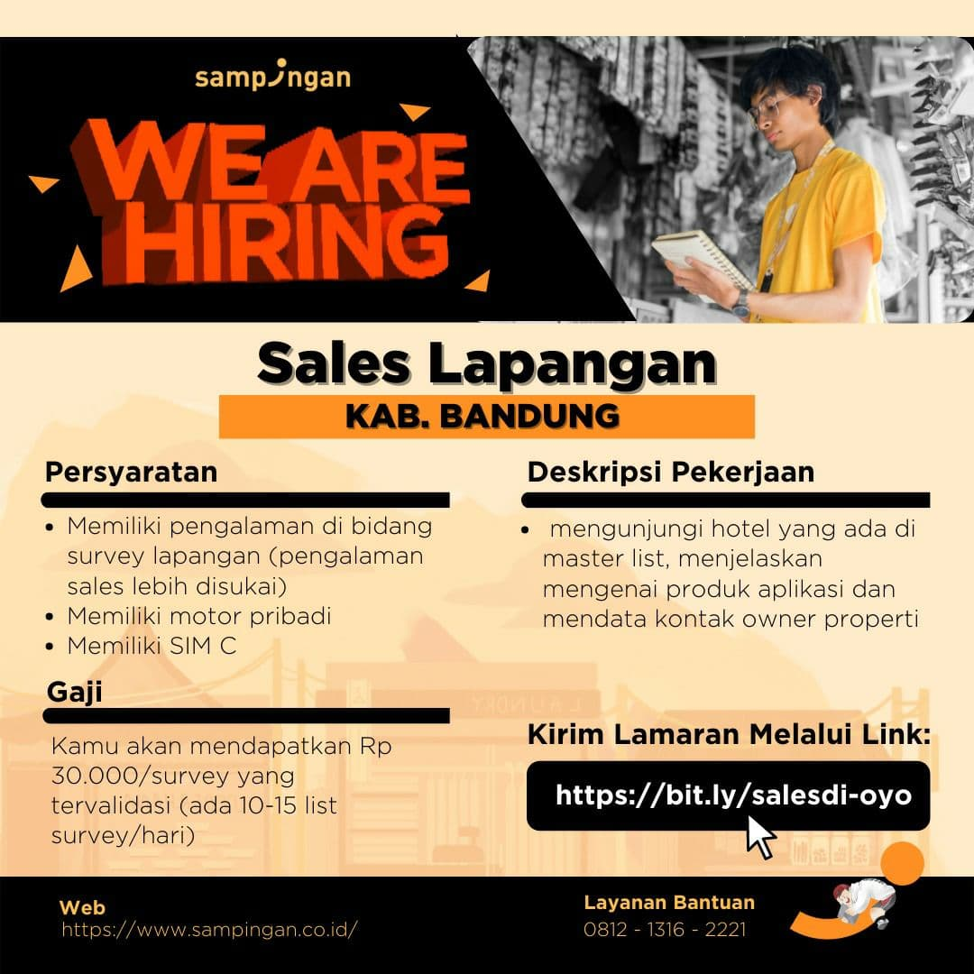 Lowongan Kerja Sales Lapangan & Sales Canvaser Sampingan Kab Bandung & Kota Cimahi Juli 2021