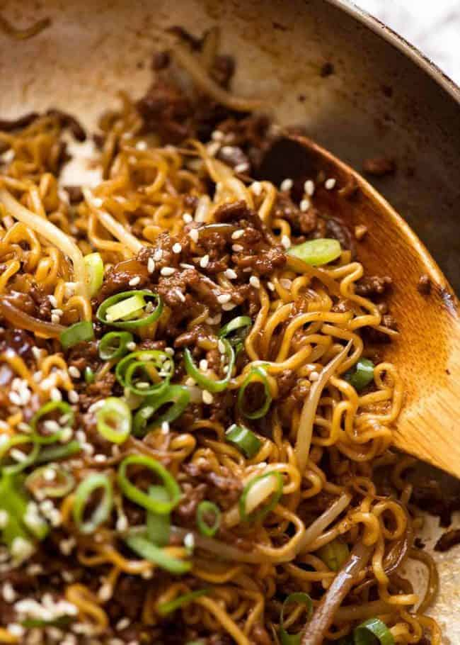 A great quick ramen noodle recipe that requires very little prep. The trick here is to caramelise the beef well - makes all the difference!