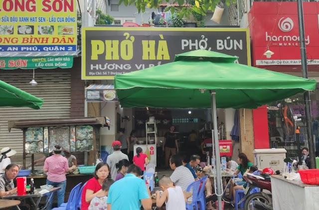 Địa chỉ quán Phở Hà - Hương vị Bắc: Số 7 Nguyễn Qúy Đức, An Phú, Quận 2