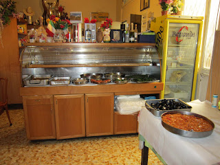 antipasti buffet at Trattoria dell'Omo in Rome