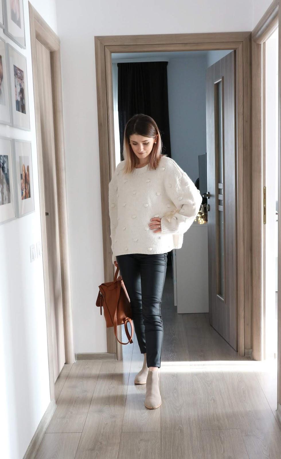 Zara pompom sweater outfit