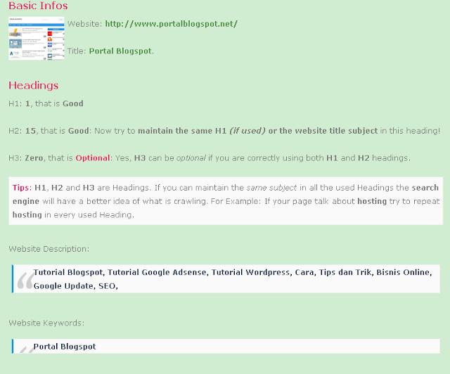 Meta Tag SEO Friendly Portal Blogspot