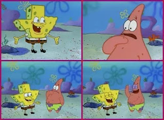 Polosan meme spongebob dan patrick 25 - spongebob mengejek sandy dengan wajah berbentuk texas