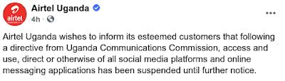 Airtel Uganda Internet Shutdown Uganda elections 2021