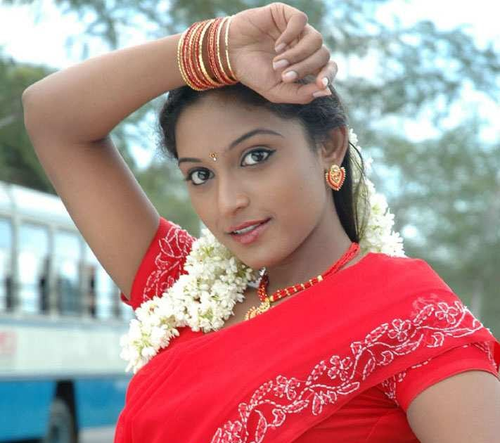 Actress Akshaya Red Saree Navel Photos