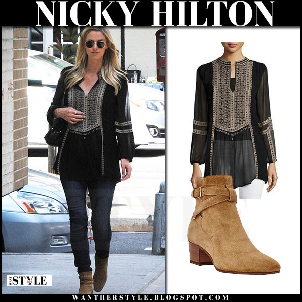 Nicky Hilton in black peasant embroidered blouse tolani lauren what she wore streetstyle