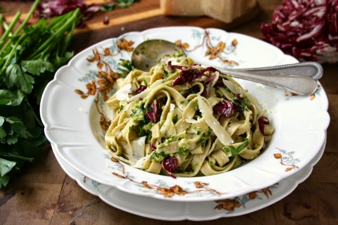 Easy Homemade pasta with pesto and radicchio