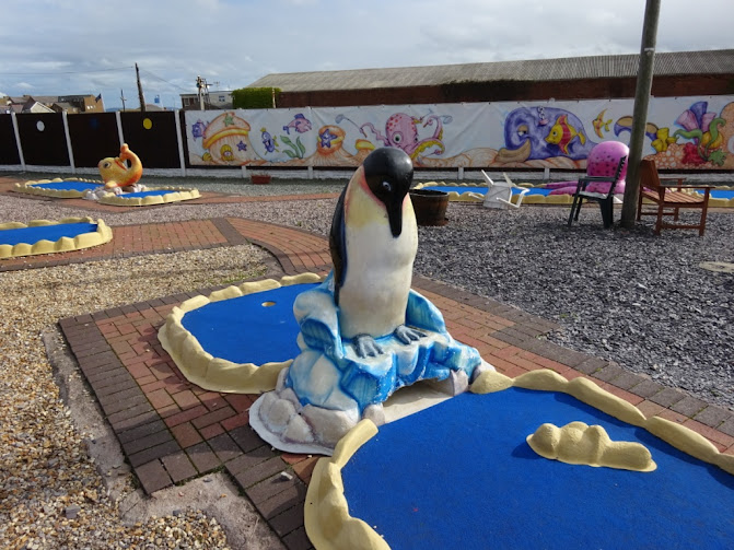 A penguin obstacle on the Surfside Crazy Golf course at Pensarn Beach in Abergele, Wales