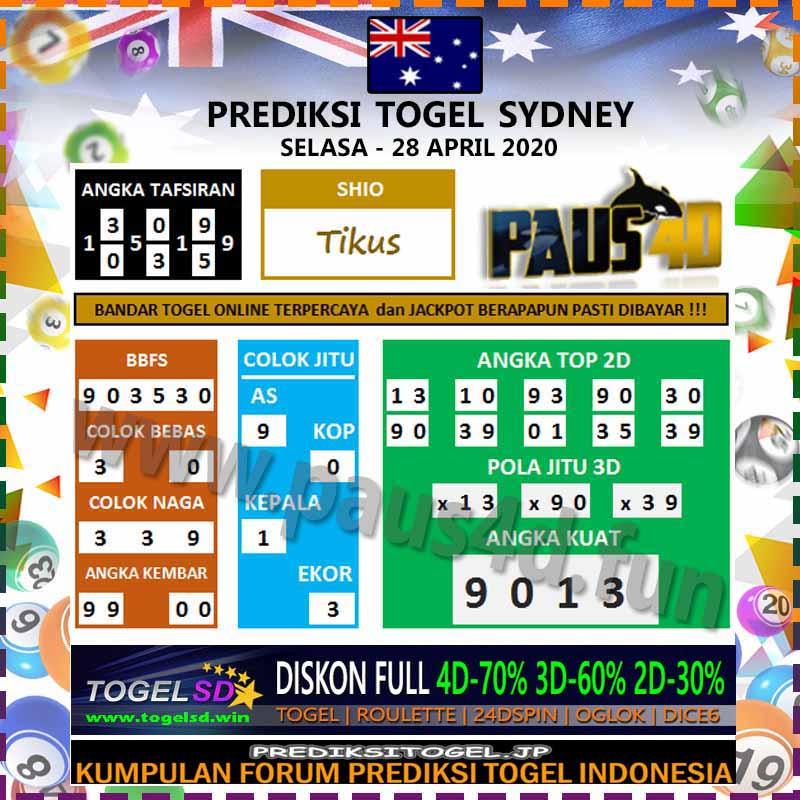 Prediksi Sydney 28 April 2020 - Prediksi Paus4D