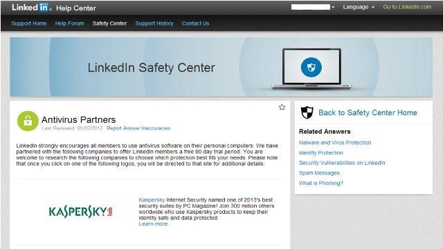 Kaspersky Lab and LinkedIn Safety Center