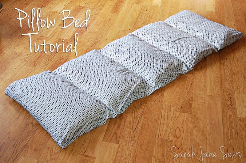 Sarah Jane Sews Tutorial Pillow Bed from XL Twin Sheet
