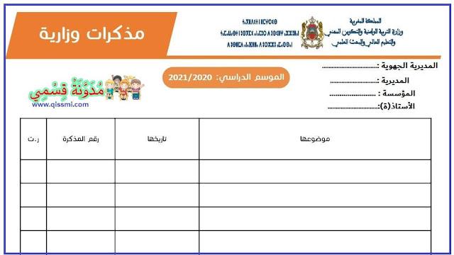 لائحة المذكرات الوزارية، الجهوية، الإقليمية و الداخلية للأستاذ