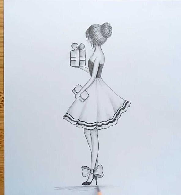 رسم فتاة جميلة بالرصاص