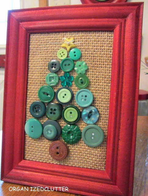 Framed Button Christmas Tree www.organizedclutterqueen.blogspot.com