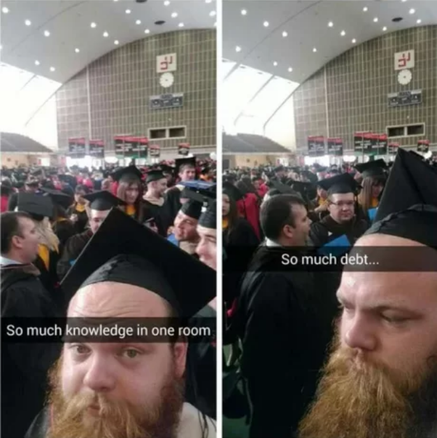 So much knowledge in one room, so much debt
