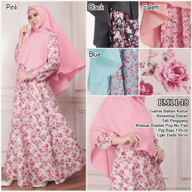 BM1148 Busana Muslim Bahan Katun Plus Khimar Bubble Pop Tanpa Pad -  distributor dan supplier baju gamis katun jepang online murah langsung  konveksi by butik ... 4aa472ef49