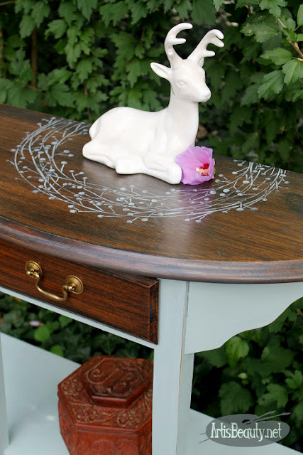 deco art winterberry wreath vintage wash painted table makeover before and after diy