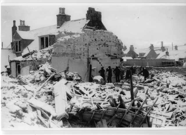 Rosehearty, Scotland, bomb damage, 29 January 1942 worldwartwo.filminspector.com