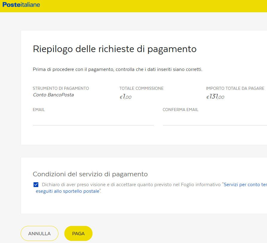 pagamento tassa scolastica con Bancoposta online