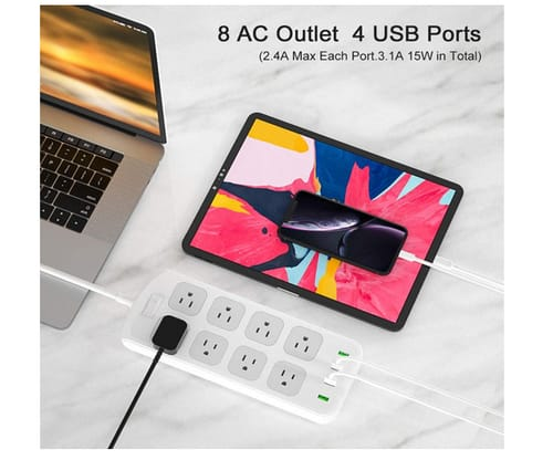 Lidlife Power Strip with 8 AC Outlets and 4 USB Charging