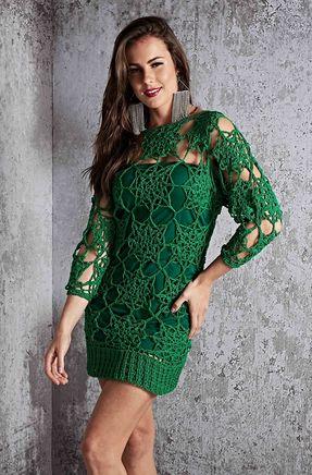 Vestido Fashion Green de Crochê - Gráfico e Passo a Passo