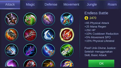 Endless Battle adalah item penambah lifesteal hero