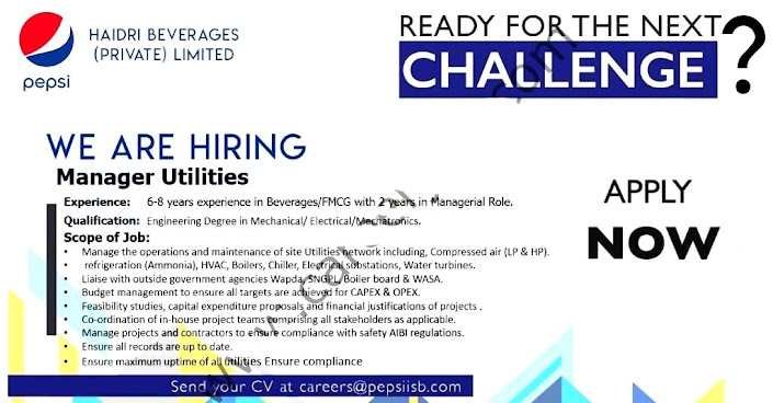 Haidri Beverages Private  Limited Latest  Jobs Manager Utilities 2021