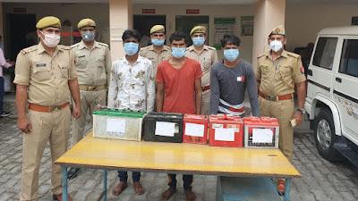 झाँसी: थाना नवाबाद पुलिस द्वारा वाहनो की बैट्री चोरी करने वाले चोरों का अन्तर्जनपदीय गैंग गिरफ्तार किया