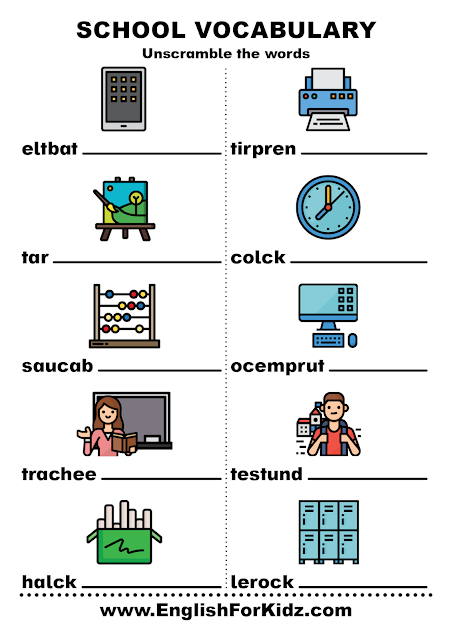 Unscramble the words worksheet to learn English school vocabulary