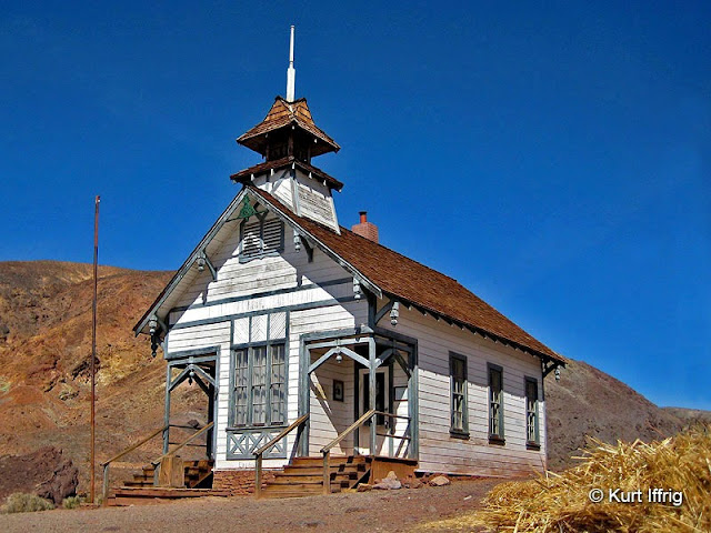 This school house is a nearly exact replica of the original one, at a smaller scale.
