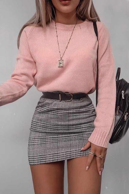 falda con sueter rosa