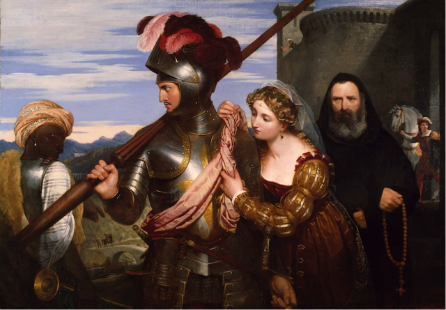 Painting of knight in front of castle surrounded by other people